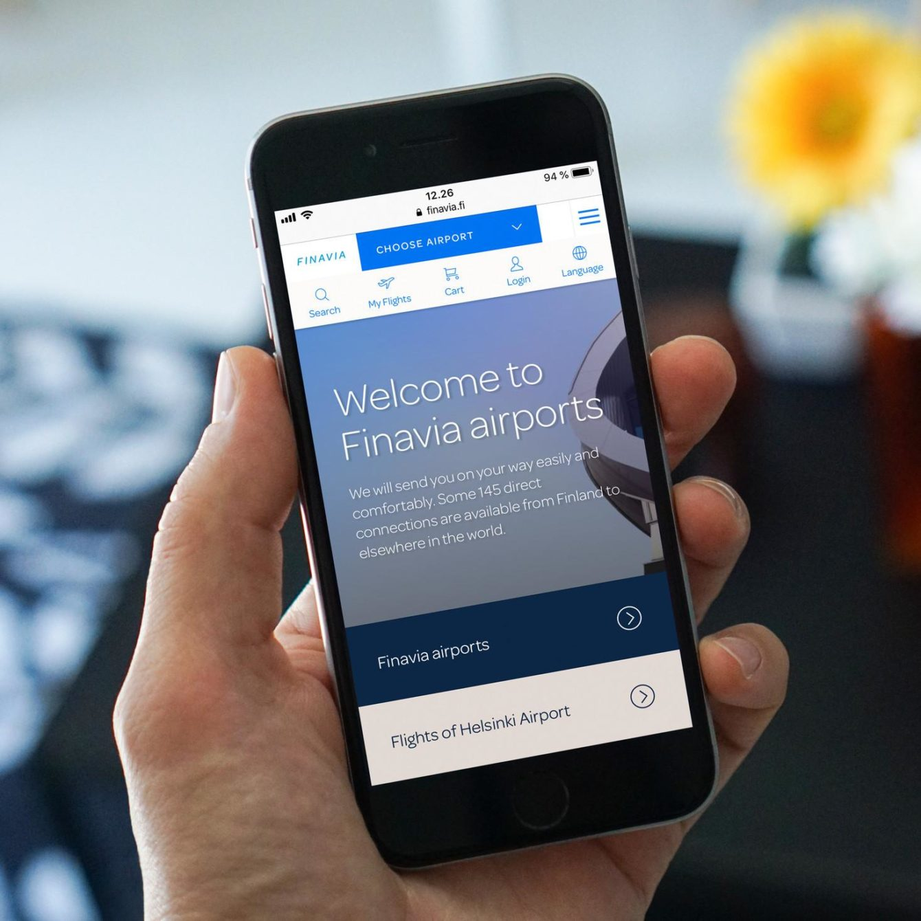 Finavia webservice open on a mobile device