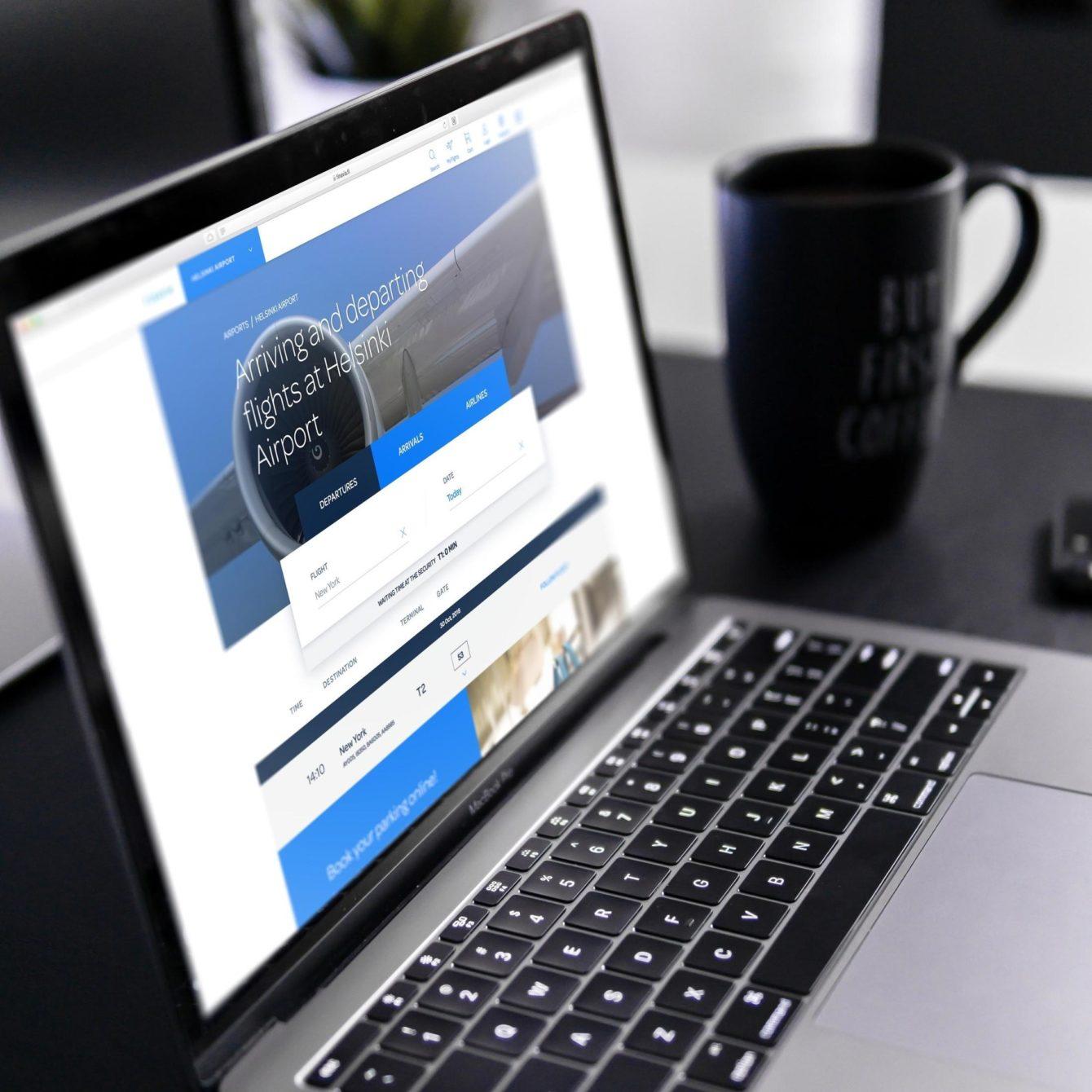 Finavia webservice open on a laptop: my flights