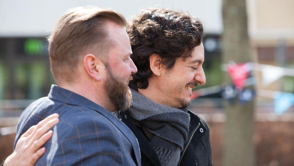 Mikko Laine hugging David Corbacho