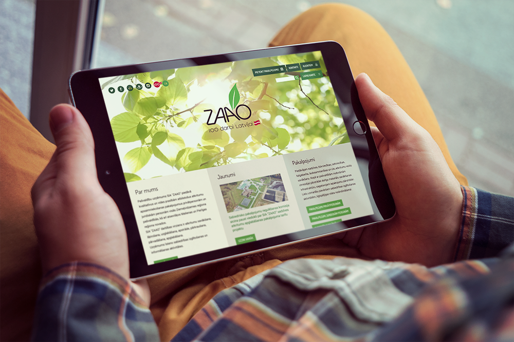 ZAAO's website on a tablet screen