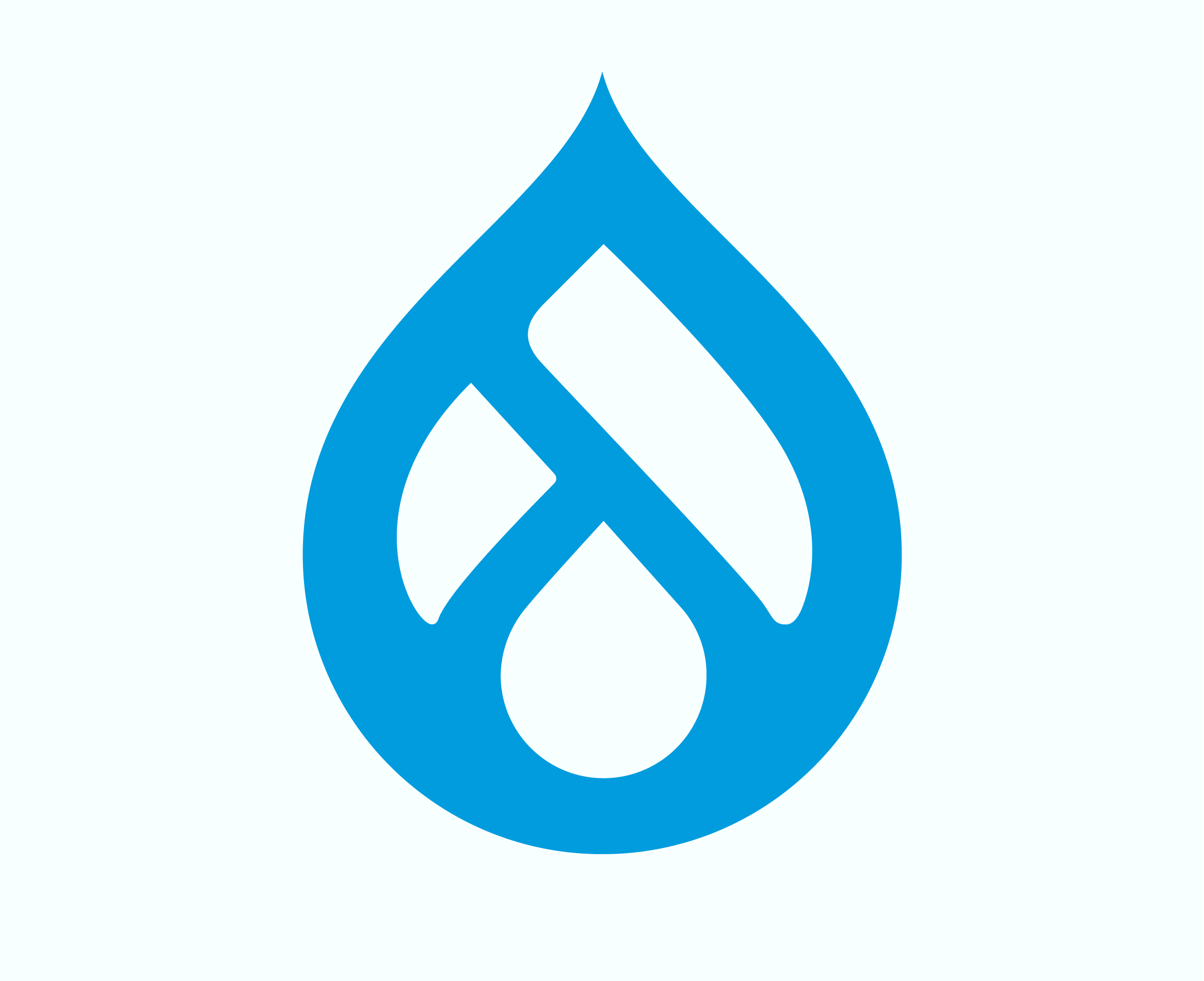 Drupal 9 logo on tranquil background