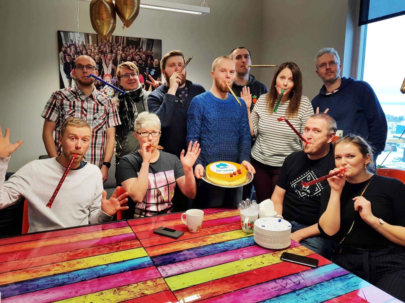 Wunder team celebrating Drupal