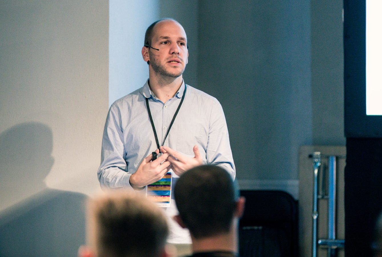 Florian Lorétan speaking at DrupalCamp Baltics 2018