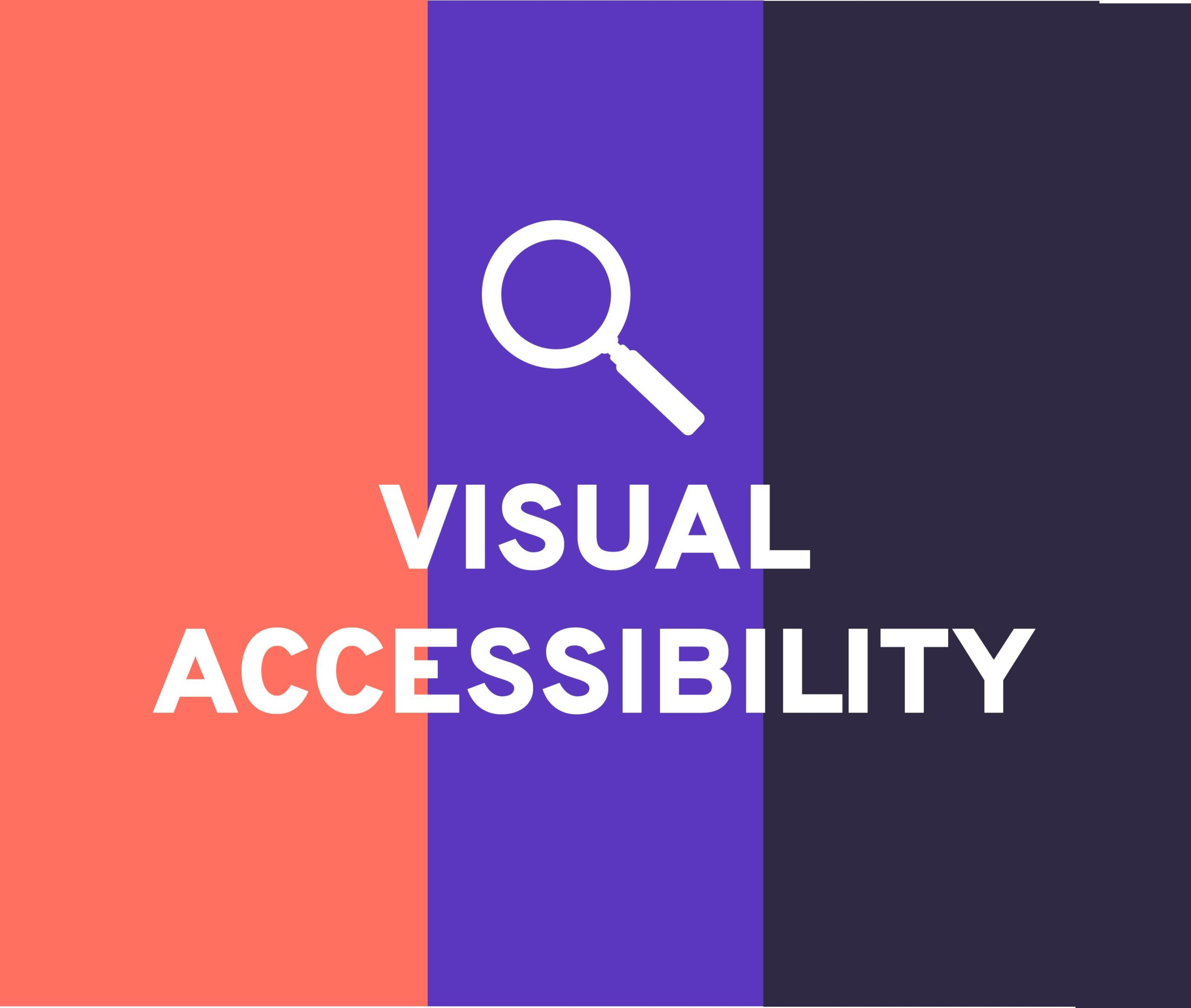 Magnifier and text, Visual accessibility with a tricolor backround to visualize the importance of the color contrast in accessible content