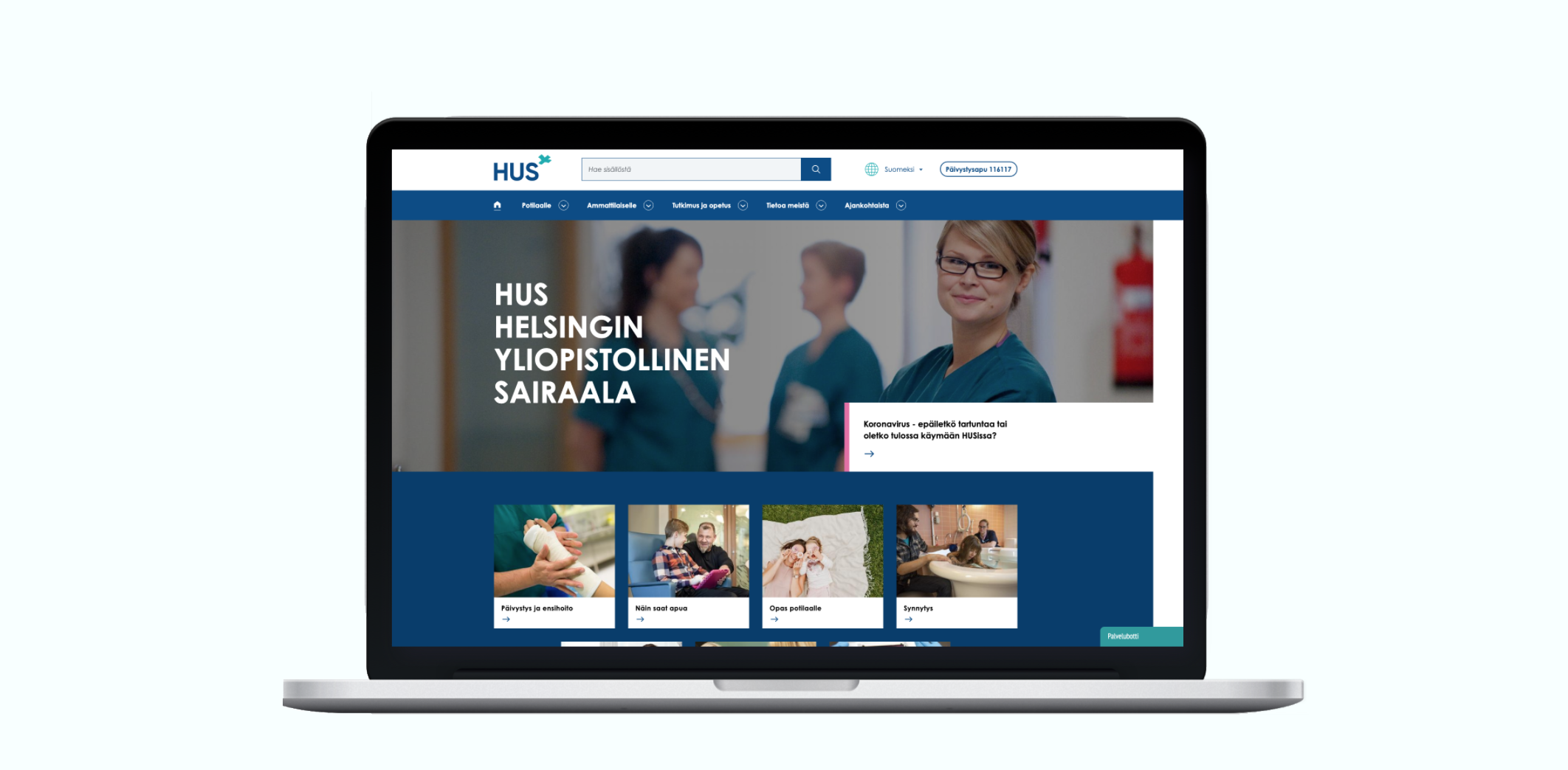 Frontpage of hus.fi site after the renewal project by Wunder