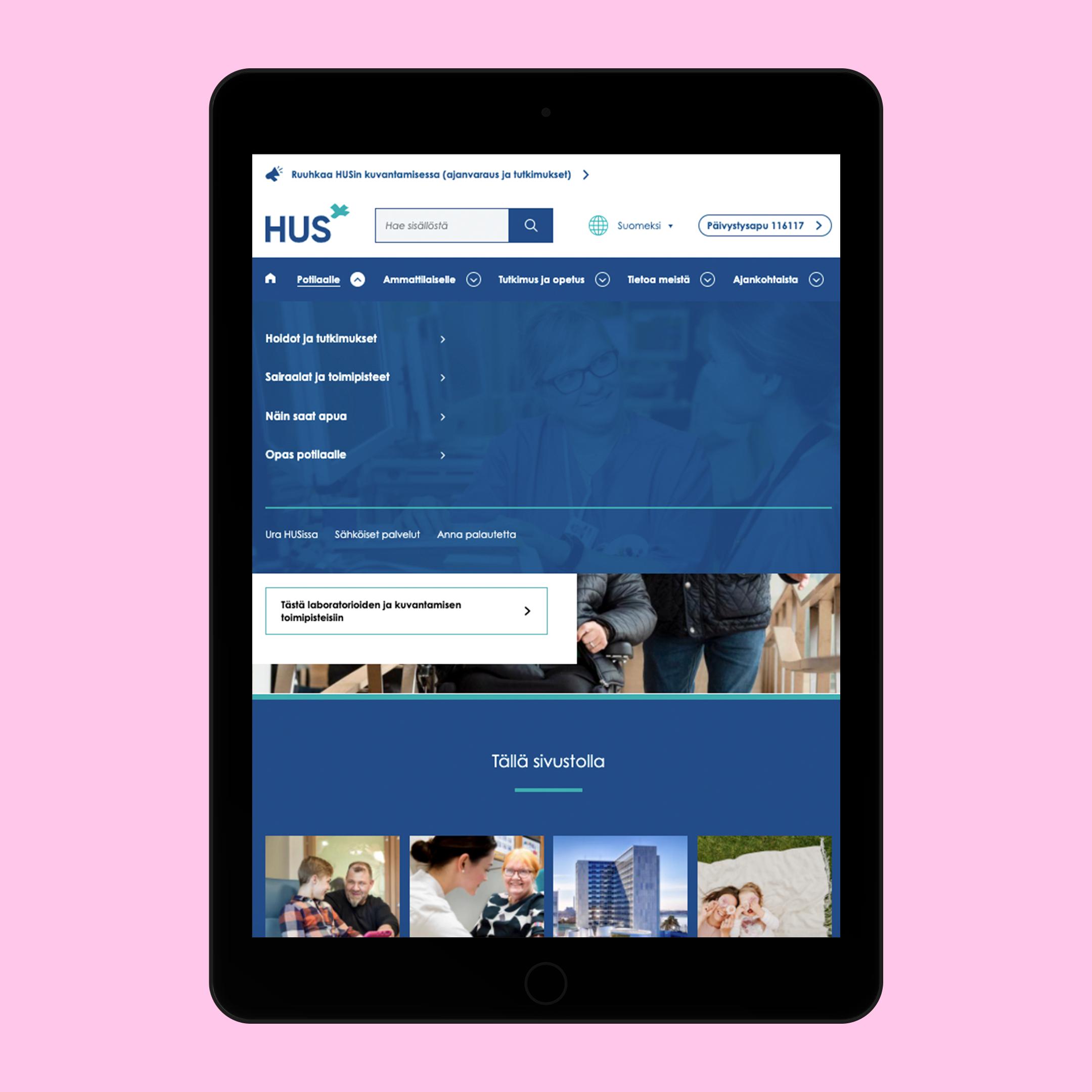 """Hus.fi """"Potilaalle"""" menu on iPad"""