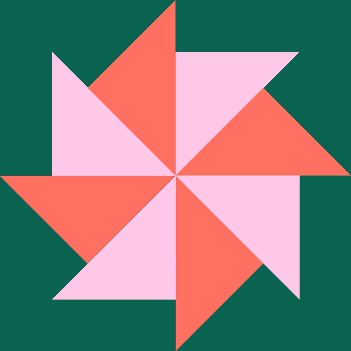 pink windmill on green background